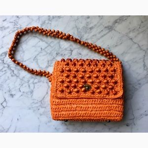 Vintage 60s Orange Woven Shoulder Bag